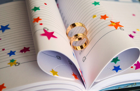 Wedding rings on a book Reklamní fotografie