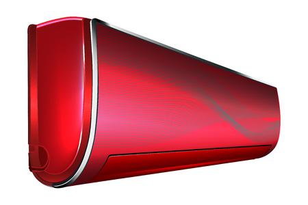 Sistema de acondicionador de aire de color rojo sobre fondo blanco Foto de archivo - 62467268