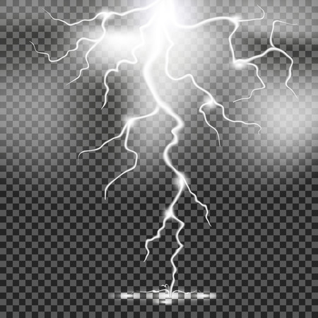 Set of lightnings. Thunder-storm and lightnings. Magic and bright lighting effects. Vector Illustration.EPS10