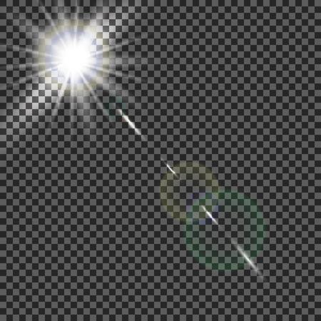 burst background: transparent sunlight special lens flare light effect. Illustration