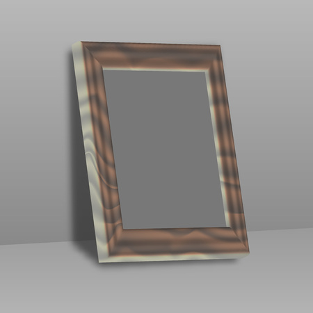 interior decoration: Wooden rectangular 3d photo frame with shadow. Illustration