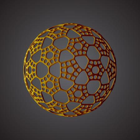 Gold Mandala in vignette, decorative flower, lace snowflake, embossed pattern, arabic ornament, indian ornament, 3D, round element