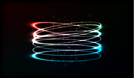 slow motion: Neon blurry circles at motion. swirl trail effect. Abstract luminous rings slow shutter speed effect. Light painting. Bokeh glitter round shapes. Abstract lights at motion exposure time
