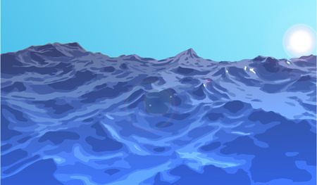 cliff edge: Landscape sea storm in the early morning. Illustration