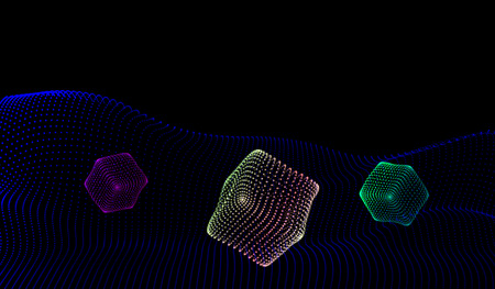 dynamically: EPS10. Geometric figures from dynamically emitted particles. 3D-style. Luminous grid. Abstract background. Vector illustration.