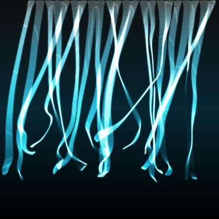 Format EPS10. Array avec des particules dynamiques émises. Style de technologie 3D. Une grille lumineuse. Résumé Contexte. Illustration vectorielle.