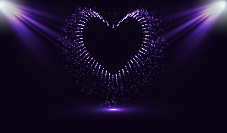 eps10. Fireworks in the shape of a heart. Fiery Jet