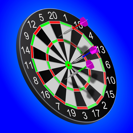 eps10. Darts stuck in the board on a blue background