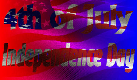 EPS10. Vector illustration. Independence Day of America Day on 4th July against the background of the American flag in a mosaic style. Illustration