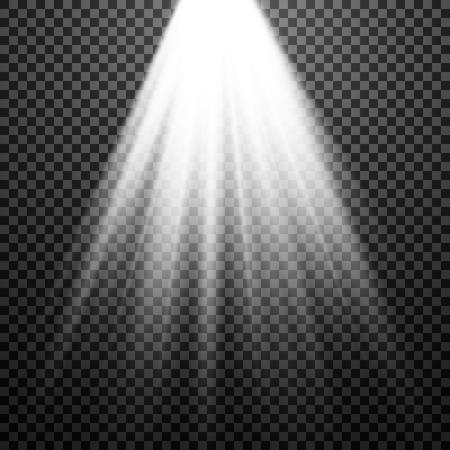 EPS10. Light Spotlight white. Template for light effect on a transparent background. Vector illustration