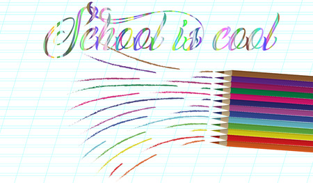 Back to school background with rainbow wave and pencils, vector illustration