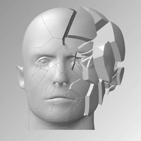 Illustrazione testa rotta