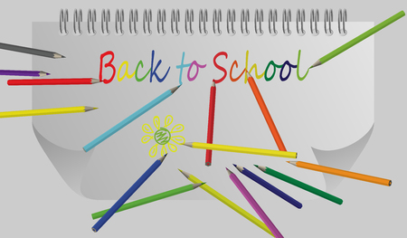 eps10. Back to school background with rainbow wave and pencils, vector illustration Ilustração
