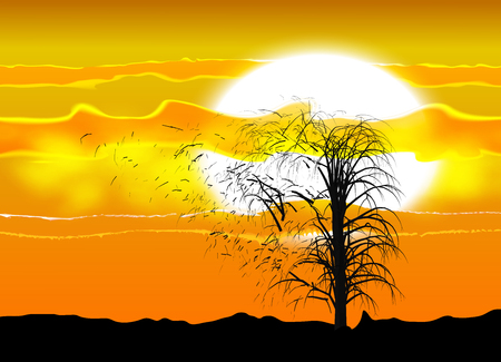 eps10. Illustration of several silhouette of a tree under an African sun and clouds. A strong wind breaking branches.