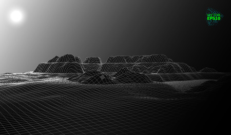 Mountain landscape in the style of wire-frame. The cosmic landscape of another planet