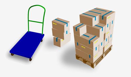 Gesloten doos, levering van dozen met breekbare tekens op houten die pallet en opslagkarretje, op witte vectorillustratie wordt geïsoleerd als achtergrond. Stock Illustratie