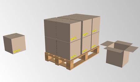 Bruine gesloten de verpakkingsdoos van de kartonlevering met breekbare tekens op houten die pallet op witte vectorillustratie wordt geïsoleerd als achtergrond.