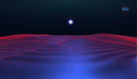 eps10. Mountain landscape in the style of wire-frame. The cosmic landscape of another planet