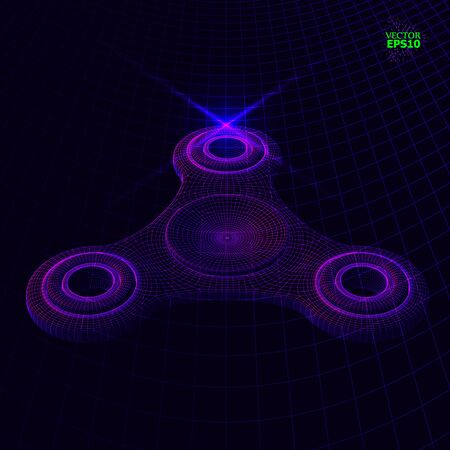 3d perspective Vector of an illustration of the fidget spinner flying over the surface