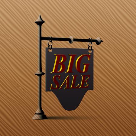 wooden post: eps10. Vintage road sign labeled BIG SALE
