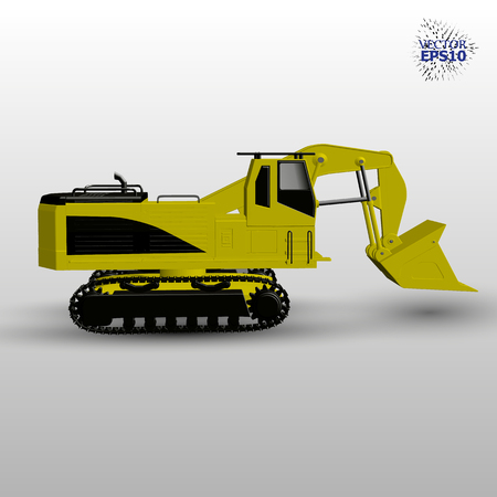 EPS0. 3d large tractor. Vector illustration.