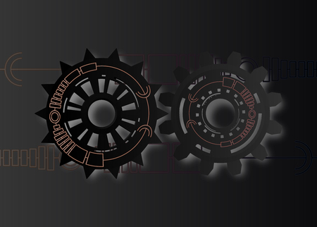 eps10. Vector illustration Abstract futuristic,3d black paper gear wheel on circuit board with neon light