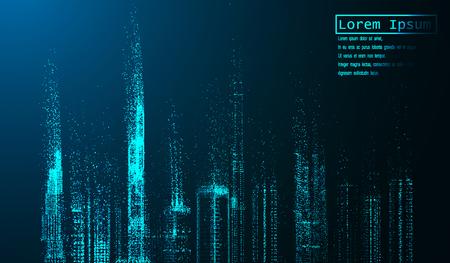 eps10. Ciudad de la noche con efectos de luz brillantes. Paisaje urbano Brillantes partículas de brillo asignadas en el fondo neutral. Espacio para tu mensaje ilustración vectorial Ilustración de vector