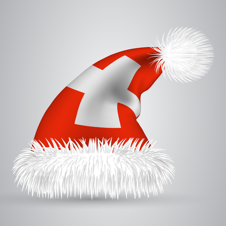 Cartoon Santa hat isolated on white background