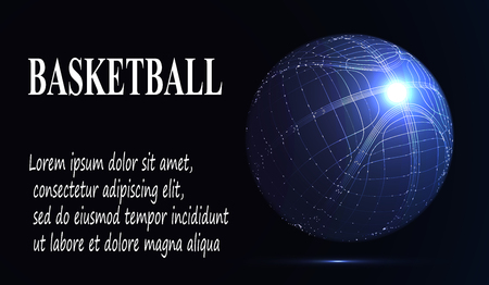 eps10. Silhouette of a basketball ball. Dots, lines, triangles, text, color effects and background on a separate layers, color can be changed in one click. Vector illustration