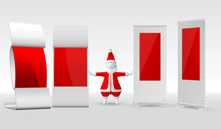 Advertising Retail stand booth banner and Santa Claus on a white background. Template layout. Front view Vector illustration.