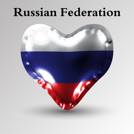 eps10. Flags of the countries of Europe. The flag of Russian Federation on an air ball in the form of a heart made of glossy material.