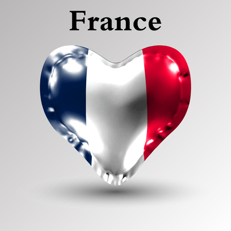 eps10. Flags of the countries of Europe. The flag of France on an air ball in the form of a heart made of glossy material.