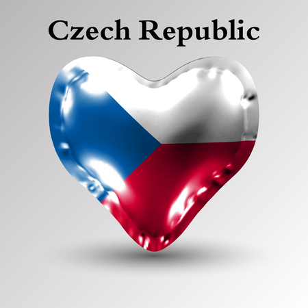 eps10. Flags of the countries of Europe. The flag of Czech Republic on an air ball in the form of a heart made of glossy material.