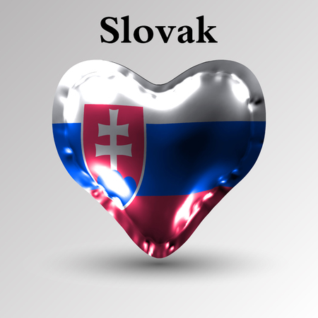 Flags of the countries of Europe. The flag of Slovak on an air ball in the form of a heart made of glossy material.