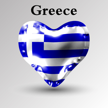 Flags of the countries of Europe. The flag of Greece on an air ball in the form of a heart made of glossy material.