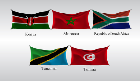 Set Flags of Countries in Africa. Waving flag of Kenya, Morocco, Republic of South Africa, Tanzania, Tunisia vector illustration.
