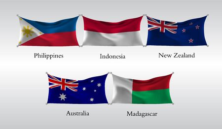 Set of Flags of Countries of the Pacific and Indian Ocean. Waving flag of Philippines, Indonesia, New Zeland, Australia, Madagascar. Vector illustration Çizim