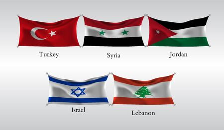 Flags of Countries in Asia. Waving flag of Turkey, Syria, Jordan, Israel, Lebanon . Vector illustration