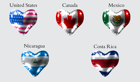 Flags of America countries. The flags of United States, Canada, Mexico, Nicaragua, Costa Rica on an air ball in the form of a heart made of glossy material.