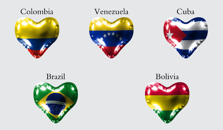 Flags of America countries. The flags of Colombia, Venezuela, Cuba, Brazil, Bolivia on an air ball in the form of a heart made of glossy material.