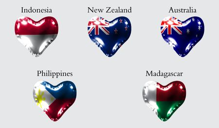 eps10. Flags of Countries of the Pacific and Indian Ocean. The flags of Indonesia, New Zeland, Australia, Philippines, Madagascar on an air ball in the form of a heart made of glossy material.