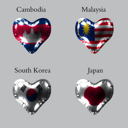 eps10. Flags of the Asian countries. The flags of Cambodia, Malaysia, South Korea, Japan on an air ball in the form of a heart made of glossy material.
