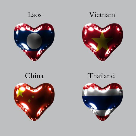 eps10. Flags of the Asian countries. The flags of Laos, Vietnam, China, Thailand on an air ball in the form of a heart made of glossy material.
