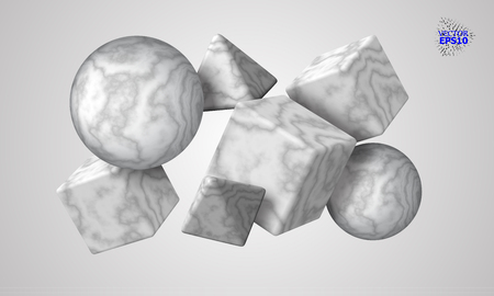 eps10. 3D decorative figures of a cube, triangle and sphere with a marble texture. Marble stone. Abstract vector illustration.