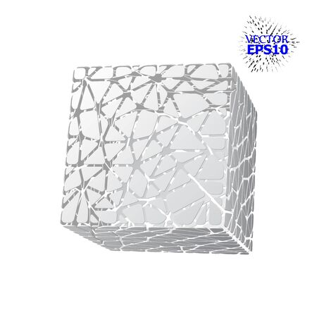 EPS10. The geometric figure of the cube is made up of segments in the Voronoi style. illustration. 3d illustration
