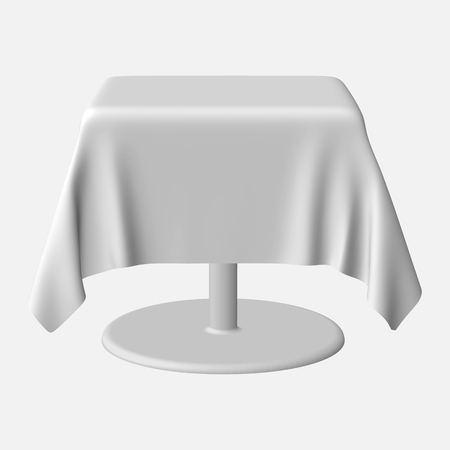 Isolated Blank rectangle Table with Tablecloth in White Color for Design