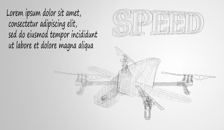 eps10. An abstract depiction of an unmanned drone in the sky, consisting of lines and shapes. The concept of the carcass of cars. Background Vetores