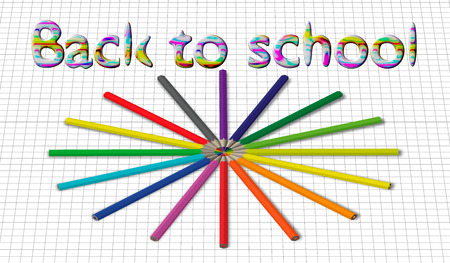 eps10. Back to school background with rainbow wave and pencils, vector illustration Çizim