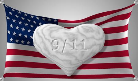 Eps10. Día de los Patriotas el 11 de septiembre. Corazón de mármol en el fondo de la bandera estadounidense. Ilustración vectorial.