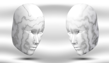 eps10. Two marble heads against each other, against a light background. Stone masks. Carnival inventory. Vector illustration